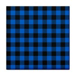 Black Blue Check Woven Fabric Face Towel Front