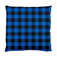 Black Blue Check Woven Fabric Standard Cushion Case (one Side)