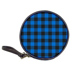 Black Blue Check Woven Fabric Classic 20 Cd Wallets