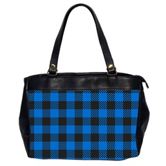 Black Blue Check Woven Fabric Office Handbags (2 Sides)  by AnjaniArt