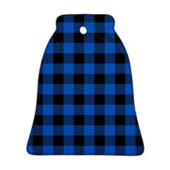 Black Blue Check Woven Fabric Bell Ornament (two Sides)