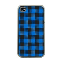 Black Blue Check Woven Fabric Apple Iphone 4 Case (clear) by AnjaniArt