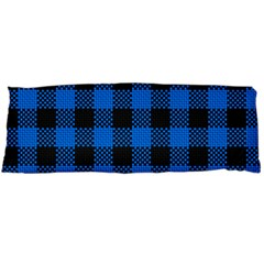 Black Blue Check Woven Fabric Body Pillow Case (dakimakura) by AnjaniArt