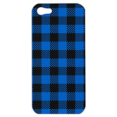 Black Blue Check Woven Fabric Apple Iphone 5 Hardshell Case by AnjaniArt