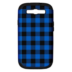 Black Blue Check Woven Fabric Samsung Galaxy S Iii Hardshell Case (pc+silicone)
