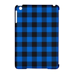 Black Blue Check Woven Fabric Apple Ipad Mini Hardshell Case (compatible With Smart Cover) by AnjaniArt