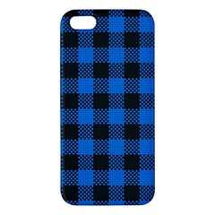 Black Blue Check Woven Fabric Apple Iphone 5 Premium Hardshell Case by AnjaniArt