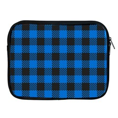 Black Blue Check Woven Fabric Apple Ipad 2/3/4 Zipper Cases by AnjaniArt