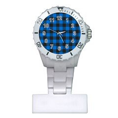 Black Blue Check Woven Fabric Plastic Nurses Watch by AnjaniArt