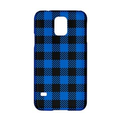 Black Blue Check Woven Fabric Samsung Galaxy S5 Hardshell Case  by AnjaniArt