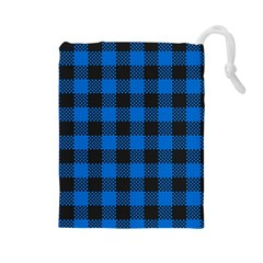 Black Blue Check Woven Fabric Drawstring Pouches (large)