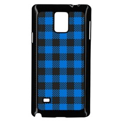 Black Blue Check Woven Fabric Samsung Galaxy Note 4 Case (black) by AnjaniArt