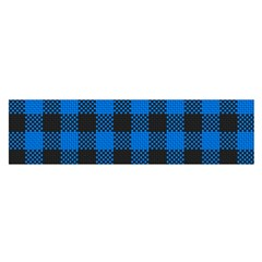 Black Blue Check Woven Fabric Satin Scarf (oblong)
