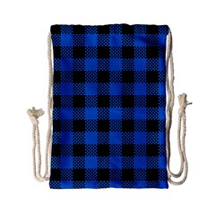 Black Blue Check Woven Fabric Drawstring Bag (small) by AnjaniArt