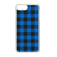Black Blue Check Woven Fabric Apple Iphone 7 Plus White Seamless Case by AnjaniArt