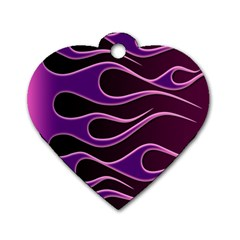 Bright Purple Flag Dog Tag Heart (one Side)