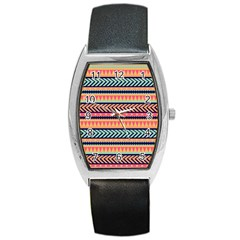 Chevron Wave Barrel Style Metal Watch
