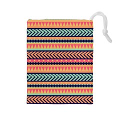 Chevron Wave Drawstring Pouches (large)  by AnjaniArt