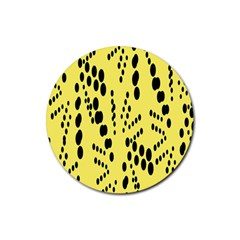 Circular Dot Selections Circle Yellow Rubber Coaster (round)  by AnjaniArt