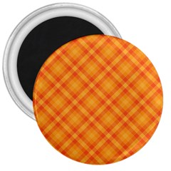 Clipart Orange Gingham Checkered Background 3  Magnets by AnjaniArt