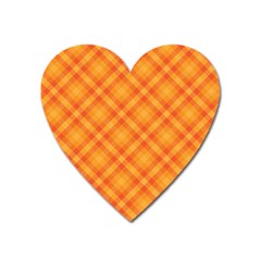 Clipart Orange Gingham Checkered Background Heart Magnet by AnjaniArt