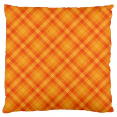 Clipart Orange Gingham Checkered Background Large Cushion Case (two Sides)