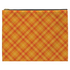 Clipart Orange Gingham Checkered Background Cosmetic Bag (xxxl)  by AnjaniArt