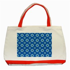 Blue Flower Clipart Floral Background Classic Tote Bag (red)