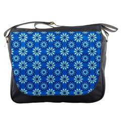 Blue Flower Clipart Floral Background Messenger Bags by AnjaniArt