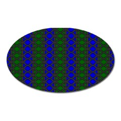 Diamond Alt Blue Green Woven Fabric Oval Magnet by AnjaniArt