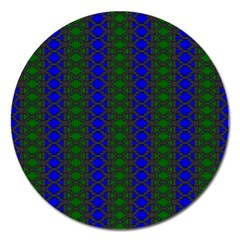 Diamond Alt Blue Green Woven Fabric Magnet 5  (round) by AnjaniArt