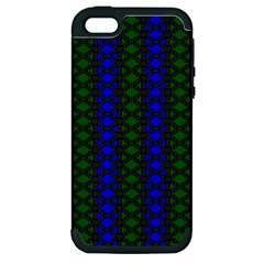 Diamond Alt Blue Green Woven Fabric Apple Iphone 5 Hardshell Case (pc+silicone) by AnjaniArt