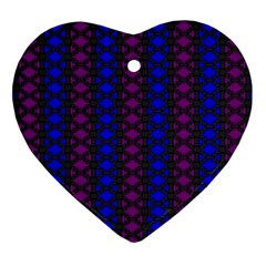 Diamond Alt Blue Purple Woven Fabric Heart Ornament (two Sides) by AnjaniArt