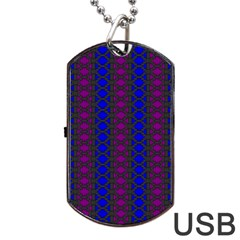 Diamond Alt Blue Purple Woven Fabric Dog Tag Usb Flash (two Sides) by AnjaniArt