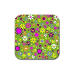 Colorful Floral Flower Rubber Coaster (square)  by AnjaniArt