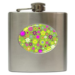 Colorful Floral Flower Hip Flask (6 Oz)