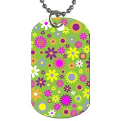Colorful Floral Flower Dog Tag (two Sides) by AnjaniArt