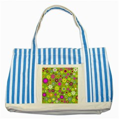 Colorful Floral Flower Striped Blue Tote Bag