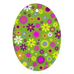 Colorful Floral Flower Oval Ornament (two Sides)