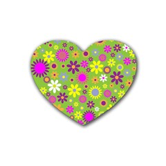 Colorful Floral Flower Heart Coaster (4 Pack)