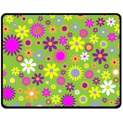 Colorful Floral Flower Fleece Blanket (medium)