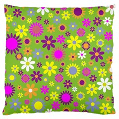 Colorful Floral Flower Large Cushion Case (two Sides)