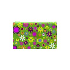 Colorful Floral Flower Cosmetic Bag (xs)
