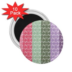 Digital Print Scrapbook Flower Leaf Color Green Gray Purple Blue Pink 2 25  Magnets (10 Pack)