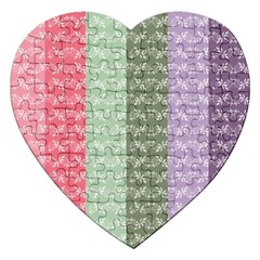 Digital Print Scrapbook Flower Leaf Color Green Gray Purple Blue Pink Jigsaw Puzzle (heart)