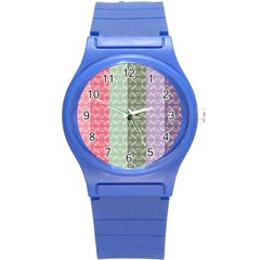 Digital Print Scrapbook Flower Leaf Color Green Gray Purple Blue Pink Round Plastic Sport Watch (s) by AnjaniArt