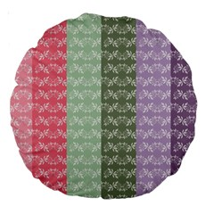 Digital Print Scrapbook Flower Leaf Color Green Gray Purple Blue Pink Large 18  Premium Round Cushions by AnjaniArt