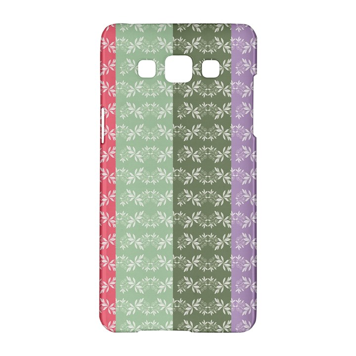 Digital Print Scrapbook Flower Leaf Color Green Gray Purple Blue Pink Samsung Galaxy A5 Hardshell Case