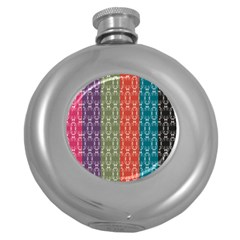 Digital Print Scrapbook Flower Leaf Color Green Red Purple Blue Pink Black Round Hip Flask (5 Oz) by AnjaniArt