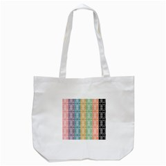 Digital Print Scrapbook Flower Leaf Color Green Red Purple Yellow Blue Pink Black Brown Tote Bag (white) by AnjaniArt